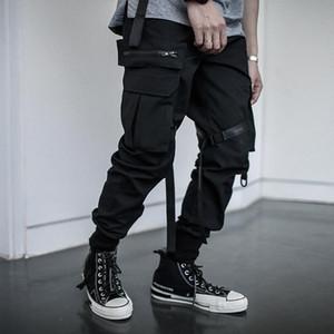 Mens Pants Multi-bolso Hip Hip Streetwear dos homens camuflagem Joggers Pants Men fita Algodão Tamanho carga Pant Calças elástico na cintura New Asian
