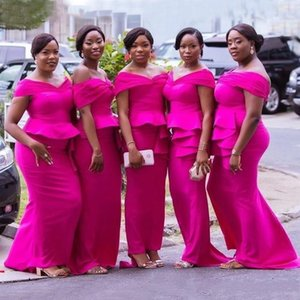 Charming Plus Size Fuchsia Mermaid Bridesmaid Dresses For Wedding Party Dresses Off Shoulder Peplum Satin Long Maid of Honor Gowns