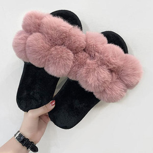 Brand Designer Women Cute Plush Balls Soft Fleece House  Outdoor Slippers Bed Room Shoes Fashion Casual Ladies Shoes