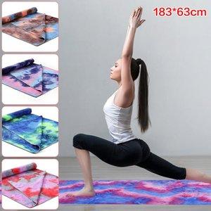 Tie-Dye Baskılı Kaymaz Yoga Battaniye Yoga Minderi Mikrofiber Havlu Kapak Kayma Önleyici Pilates Battaniyeler Spor Salonu