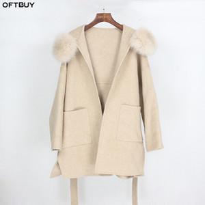 OFTBUY 2,020 real Casaco de peles Casaco de Inverno Loose Women Natural Fox Fur Collar Cashmere misturas de lã Casacos Streetwear Oversize