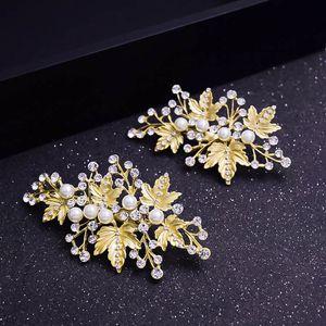 Hohe Qualität Kristall Perlen Haarspange 2019 Blätter Stil Haarnadel Braut Kopfschmuck Handgefertigte Perlen Perlen Braut Haarschmuck