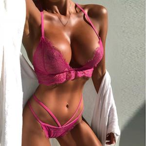 Sexy Nueva Lencería Sujetador Femme Sujetador Polyeste Conjunto Conjunto Soutien Gorge Culotte Ropa Interior Linda Encaje Cuello de Encaje Ropa Interior Femme