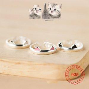 925 стерлингового серебра животных Розовый Черный Уши Cat Ring Открытый регулируемый кольцо Прекрасный серебряный Jewellry из Китая