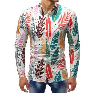 Листья печать рубашки с длинным рукавом для Мужские Рубашки мужские тонкие и облегающие рубашки новое поступление