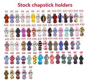 Neopren Chapstick Tutucu Keychains 63pcs Toplu Ruj Tutucu Anahtarlık Chapstick Anahtarlık Tutucu Doğum Noel için Best Hediye