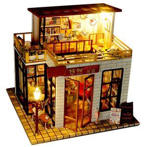DIY Модель здание игрушка, китайский стиль Книжный магазин с легким, деревянными строительными блоками, партии Kid»Подарок на день рождения, Collectiing, орнамент украшения