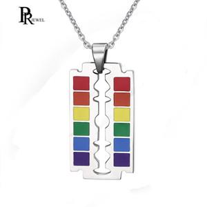 Mode Bijoux Pendentifs Drop Shipping Gay Rainbow Flag Lame de rasoir Pendentif Gay et Lesbienne Collier Fierté