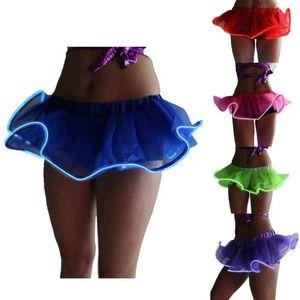 Femmes Light Up Paillettes Tutu Jupes LED Light Up Neon coloré scène de danse Porter robe de bal Minijupes Party cosplay Jupes courtes