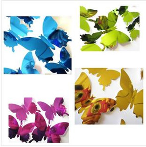 Nuevos colores 12pcs / set del PVC etiqueta de la pared DIY estereoscópica etiqueta de la mariposa Espejo de pared de la ventana 3D del papel pintado del partido Suministros T2I5563