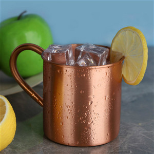 Pure Handle Copper Caneca Europeia American Style Moscow Mule Cocktail Drink Vidro Pure Copper Cup Restaurant Bar Fria Cup h3 T200327