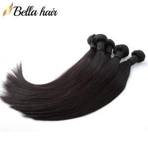 인도 직선 인간의 머리 확장 처리되지 않은 버진 헤어 번들 도매 염색 천연 컬러 3PCS 할 수있다 / 많은 Bellahair