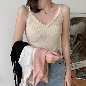 GIGOGOU New Verão Mulheres malha de alças sem mangas Sexy Halter Vest Moda Casual Feminino Camisole