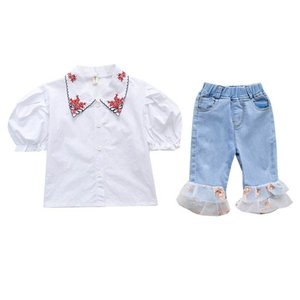 Summer 2020 new baby girls suits fashion girls outfits short sleeve shirt+lace Jeans shorts 2pcs set kids designer clothes girls sets B1557