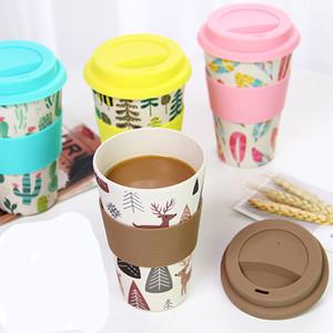 Porte grátis, atacado nova fibra de pó de bambu caneca de café verde Europeu e americano criativo copo de café FDA food grade