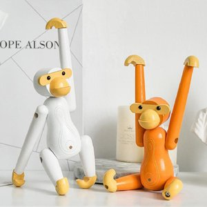 Wooden Handmade Figurine Monkey Children Room Bedroom Living Room Home Decoration Ornaments Holiday Gift Colour Animal Toy Model
