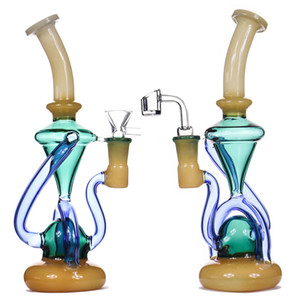 Vortex New recycleur Dab Oil Rig Rig Wax Water Pipe Bong Heady Klein Bongs verre de bécher cyclone barboteur banger de Bong