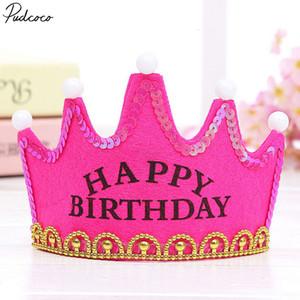 Cap Pudcoco bambini belli dei capretti delle ragazze dei ragazzi principessa Led Light Birthday Party Hats Corona festa di compleanno
