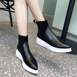 Dilalula New Women Genuine Leather Ankle Boots Flat Platform Casual Stretch Short Boots Female 2020 Shoes Woman