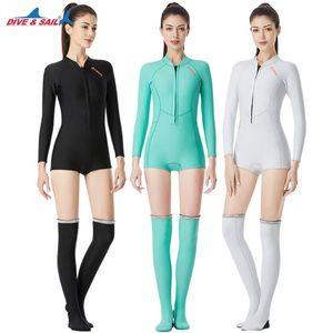 1.5MM Neopren Bikini Dalgıç UV Koruma Uzun Kollu Dalış Suit Yüzme Suit Kadın Sörf Şnorkel çorap
