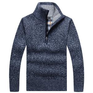 Mens Camisolas Outono Mens espessura quente malha pulôver Sólidos manga comprida Turtleneck Camisolas Metade Zip casaco de lã Asiático Tamanho do velo de Inverno