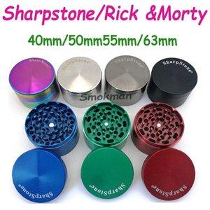 High Quality Sharpstone Herb Grinder Metal Zinc Alloy Tobacco Herbal Grinders 4 Layers 40 50 55 63mm Diameter 7 colors rainbow OEM logo