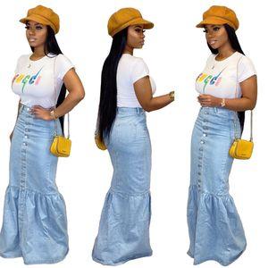 Geben Sie Schiff neue Frauen arbeiten Denim Blue Mermaid Röcke beiläufige hohe Taille, figurbetontes Lange Jeans Röcke XXL