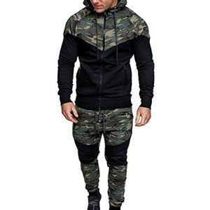 Designer elegante bar Men agasalho com capuz Jacket Sweatsuit Sports Ternos Jogger Set camuflagem Treino Vestuário dos homens novos do Sportwear