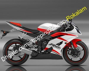 Kit Carénage Yamaha YZF R6 YZFR6 YZF600R Blanc Rouge Noir carénages 08 09 10 11 12 13 14 15 16 (__gVirt_NP_NN_NNPS<__ moulage par injection)