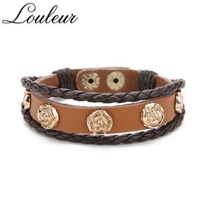 Louleur new retro flor pulseira de couro mulheres do punk corda trançada cadeia pulseiras exclusivas pulseiras para femme jóias ajustável
