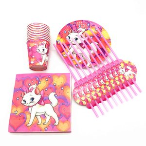 50pcs Marie Cat theme disposable tableware set Marie Cat paper plates cups napkins straws baby shower birthday party supplies