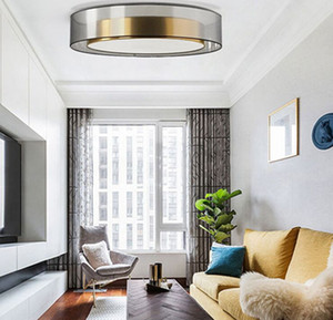 Circulaire Creative Postmodern Loft Chambre Led Plafond laiton lumière rétro verre Livingroom Atmosphère Étude Cuisine Lumières MYY