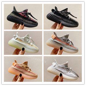 2020 Nouveaux enfants Kanye West 3M Chaussures de course statiques enfants Israfil Cinder désert Sage Terre Queue Lumière Zebra Filles Garçons Baskets Sneakers