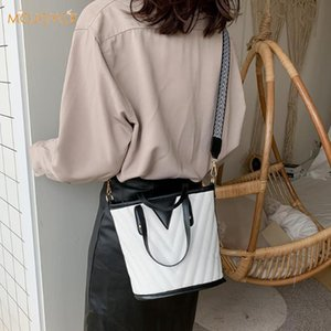 Women Fashion Black White Bucket Shoulder Crossbody Bag Ladies Casual PU Leather Messenger Handbag Top-Handle Bags