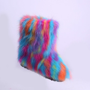 가짜 여우 모피 유행 겨울 야외 겨울 신발 스노우 부츠 여성 겨울 따뜻한 부츠 여자 2019 새로운 XDX-1