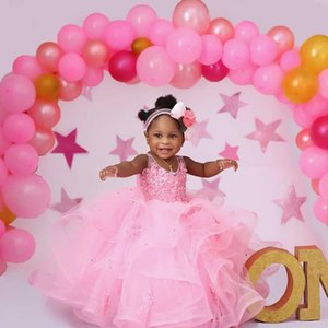Pink Ball Gowns Flower Girl Dresses with Beads Appliqued Puffy Pageant Gowns 2020 Girls Tiered Skirts Party Celerity Dress