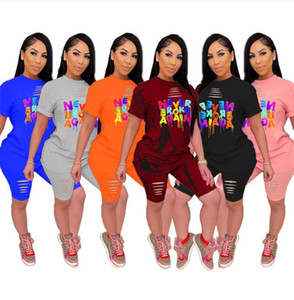 Verão T-shirt e buracos Mulheres Treino Outfits Designer Shorts Roupa Set Nunca QUEBROU Carta Sportswear NOVAMENTE vestuário S-5XL D52205LY