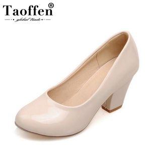 TAOFFEN Größe 32-48 9 Farben frauen High Heels schuhe runde spitze Lackleder Dicke Hohe Schuhe