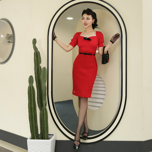 Le Palais Vintage 2019 Original Vintage Red Faux Lambswool cintura alta saia lápis Inverno Joelho de comprimento Joker saias das mulheres