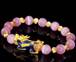 Transferência banhado a ouro Alterar cor Riqueza Pixiu Charme Opal bracelete frisado Feng Shui Jóias Lucky animal