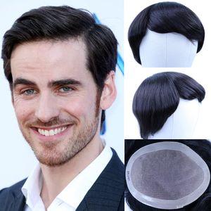 Substituição peruca cabelo indiano Remy Human Sistema 4x4 dos homens negros Natural - 8x10 Belas Mono Net peruca de cabelo humano por Homens