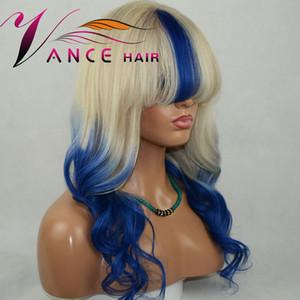 vancehair 13x4.5x1 T Lace Front Wigs cheveux humain vague naturelle bleu personnalisé avec perruques Bangs 150% Pre plumé Remy Hair
