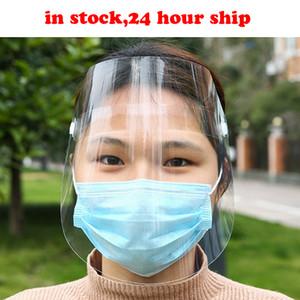 24 horas envían Clear Face Pantalla Protectora Mascarilla Facial Lucha contra las gotitas respiratorias Máscaras Transparente Protección de Adultos En los hogares cortavientos archivo