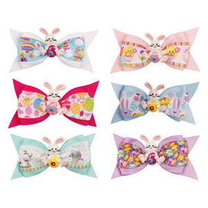 Kids 3inch Barrettes cartoon print Baby Rabbit Bowknot Hairpin Christmas Barrettes Cute Bunny gift Clip Hair Accessories LJJA3554-13