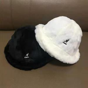 New kangol canguru chapéu bacia de pele de coelho chapéu de pescador bordado pele branca morna
