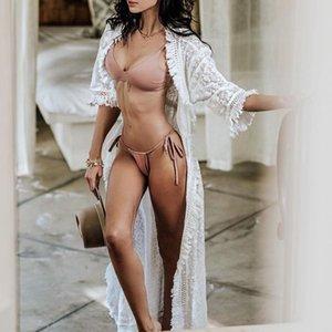 섹시한 투명 레이스 비치 드레스 여성은 긴 기모노 술은 커버 업 카프 탄 새로운까지 중간 슬리브 비치웨어 커버 수영복