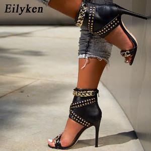 Eilyken 2020 Nuova decorazione del ribattino del metallo di alta tacco copertura sandali delle donne per il partito Gladiatore pattini delle signore Il nero formato 35-40 CY200518