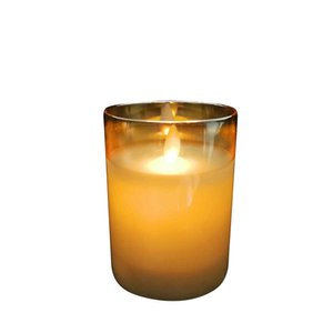 Battery candle Led candle in glass 7.5*10 small real paraffin wax light yellow candlelight grey Golden electroplated glass for anniversary