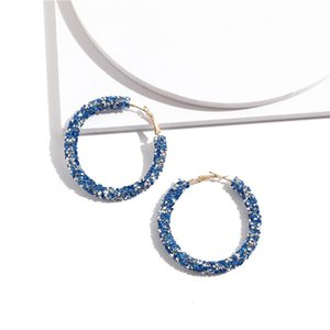 Fashion Bling Geometric Round Circle Crystal Hoop Earrings for Women Rhinestone Party Earrings Gift