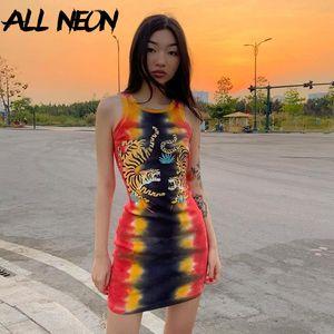ALLNeon Punk Tie Dye Senza Maniche Graphic Mini Abiti a costine O-Collo Della Tigre di stampa Aderente Vestito Da Partito e-girl Rave Abiti Estivi